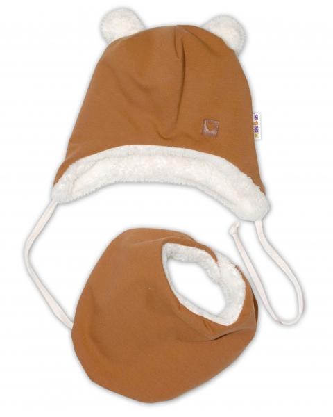 Baby Nellys Zimní kožíšková čepice s šátkem LOVE, medová hořčice, vel. 46/48 cm, Velikost: 46/48 čepičky obvod