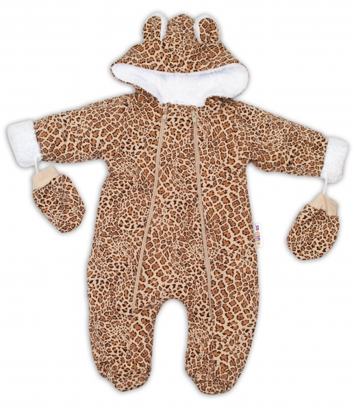 Baby Nellys Zimní kombinézka s kapucí a oušky + rukavičky, Gepard - hnědá, Velikost: 56 (1-2m)