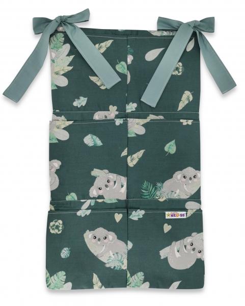 Bavlněný kapsář na postýlku Baby Nellys 6 kapes, Tropical Koala, zelená