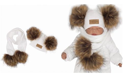 Z&Z Zimní čepice s bambulemi z kožešinky a šálou 2v1, bílá