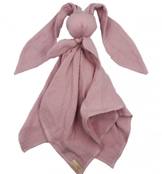 Hug Me Bunny Mušelínový mazlík, plenka s oušky 65 x 60 cm, starorůžová