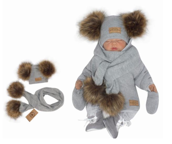 Z&Z Zimní čepice s bambulemi z kožešinky a šálou 2V1, šedá