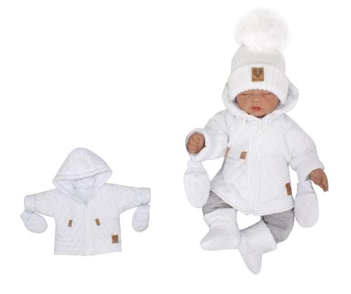 Z&Z Zimní prošívaná bundička s kapucí + rukavičky - bílá, vel. 80