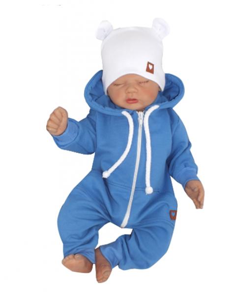 Z&Z Dětský teplákový overálek s kapucí, modrý, Velikost: 56 (1-2m)