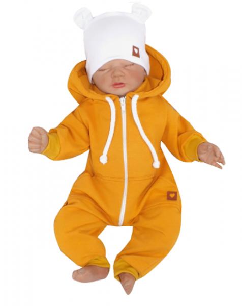 Z&Z Dětský teplákový overálek s kapucí, hořčicový, vel. 62, Velikost: 62 (2-3m)