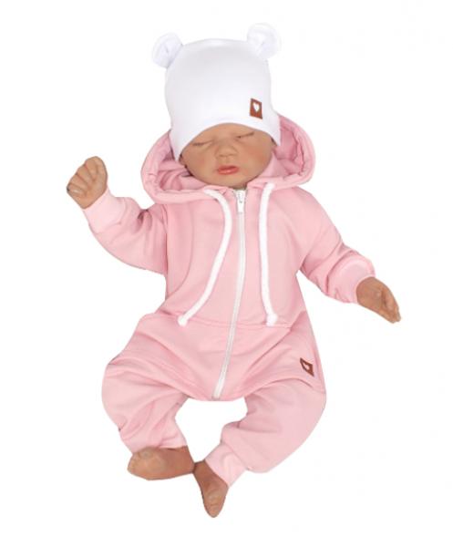 Z&Z Dětský teplákový overálek s kapucí, růžový, vel. 74, Velikost: 74 (6-9m)
