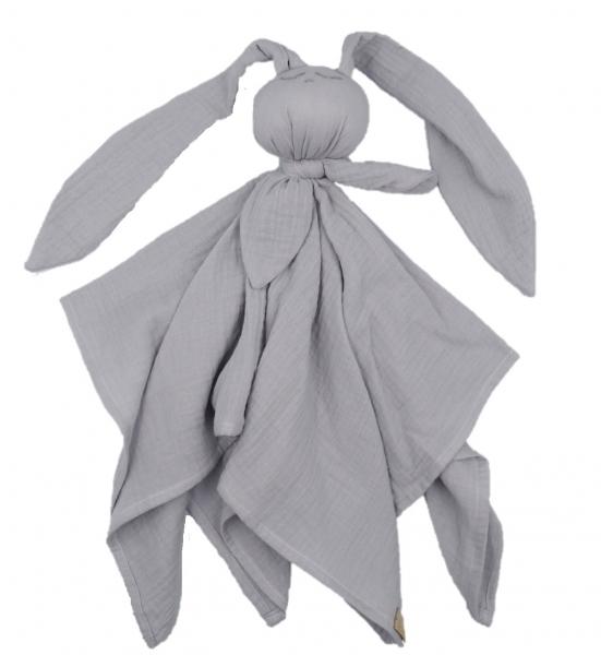 Hug Me Bunny Mušelínový mazlík, plenka s oušky 65 x 60 cm, šedá