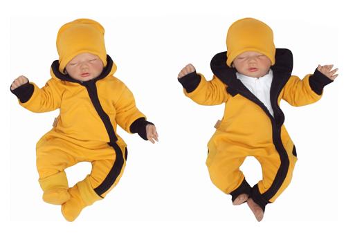 Z&Z Dětský teplákový overálek s kapucí, čepičkou a botičkami, hořčicový