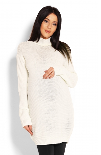 Be MaaMaa Těhotenský svetr, tunika - krémový