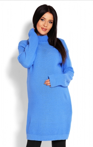 Be MaaMaa Těhotenský svetr, tunika - modrá