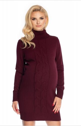 Be MaaMaa Těhotenské šaty - svetříkové, bordo