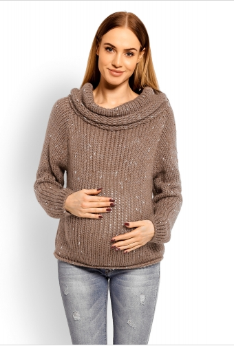 Be MaaMaa Těhotenský vlněný svetr s rolákem - mocca