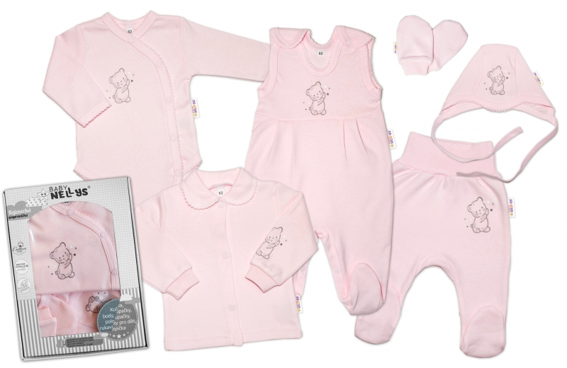Baby Nellys Velká sada do porodnice TEDDY, 6-ti dílná v krabičce, růžová, vel. 62