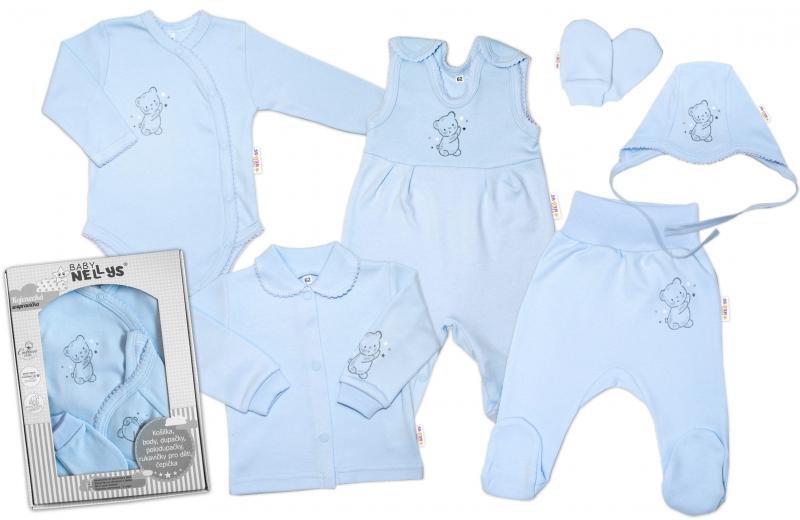 Baby Nellys Velká sada do porodnice TEDDY, 6-ti dílná v krabičce, modrá, vel. 62