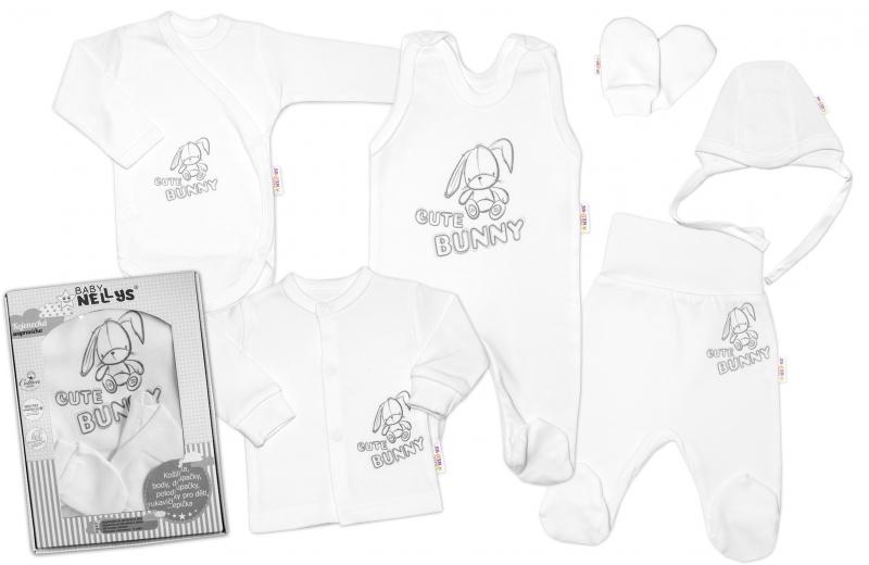 Baby Nellys Velká sada do porodnice CUTE BUNNY, 6-ti dílná v krabičce - bílá, vel. 62, Velikost: 62 (2-3m)