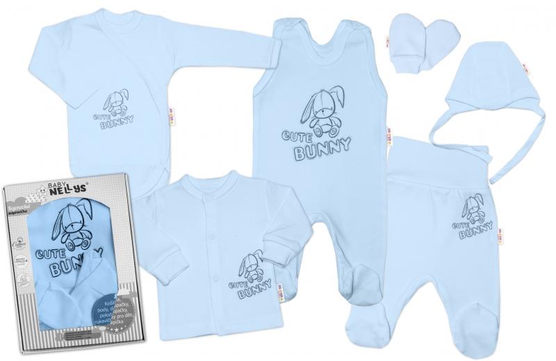 Baby Nellys Velká sada do porodnice CUTE BUNNY, 6-ti dílná v krabičce - modrá, vel. 62, Velikost: 62 (2-3m)