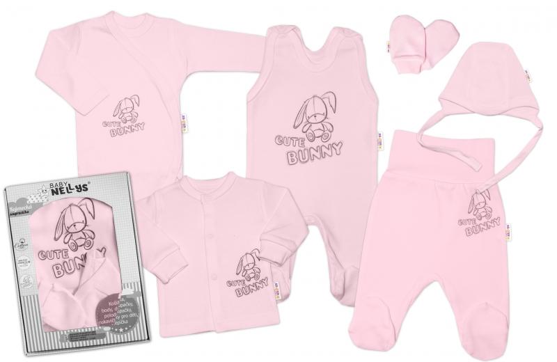 Baby Nellys Velká sada do porodnice CUTE BUNNY, 6-ti dílná v krabičce - růžová, vel. 62, Velikost: 62 (2-3m)