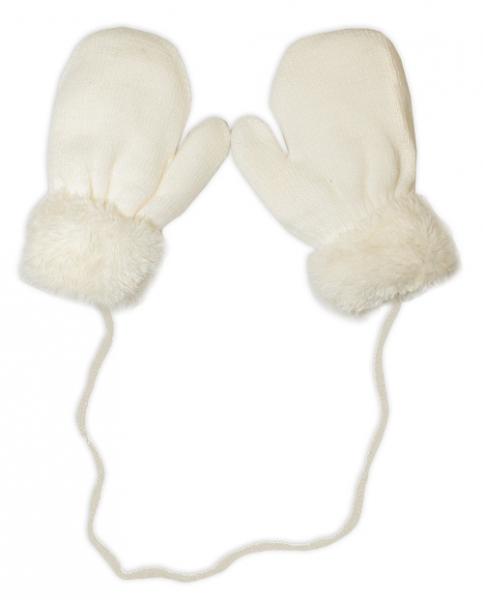 YO !  Zimní kojenecké  rukavičky s kožíškem - se šňůrkou  YO - smetanové/smetanový kožíšek
