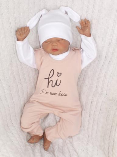 Z&Z 5-dílná kojenecká soupravička Hi I´m new here - starorůžová
