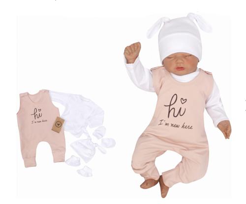 Z&Z 5-dílná kojenecká soupravička Hi I´m new here - starorůžová, vel. 56