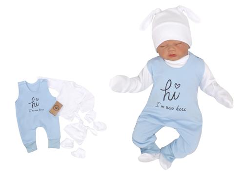 Z&Z 5-dílná kojenecká soupravička Hi I´m new here - modrá, vel. 62