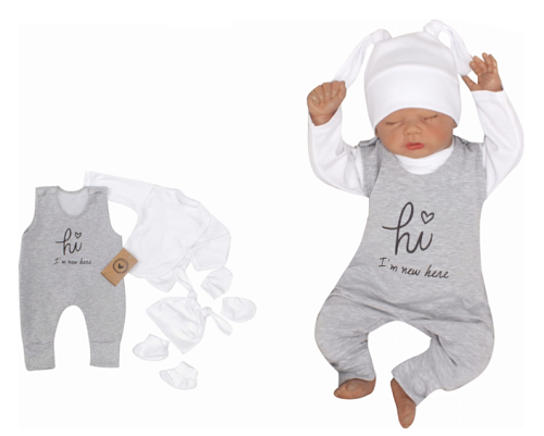 Z&Z 5-dílná kojenecká soupravička Hi I´m new here - šedá, vel. 56