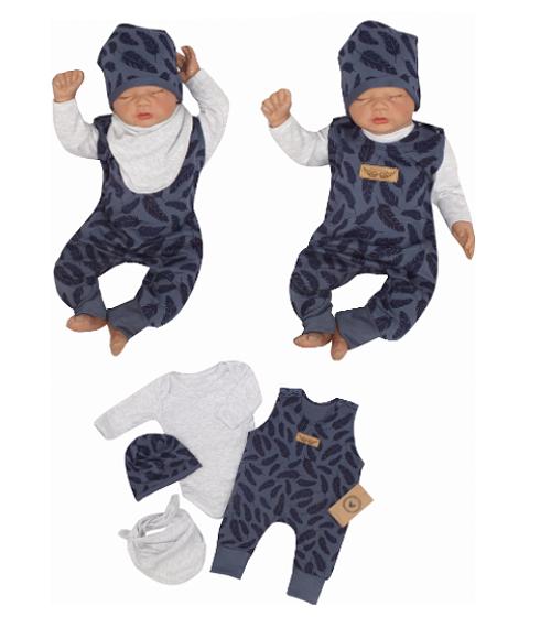 Z&Z 4-dílná soupravička body, láclové kalhoty, čepička + šátek - modrá, vel. 68
