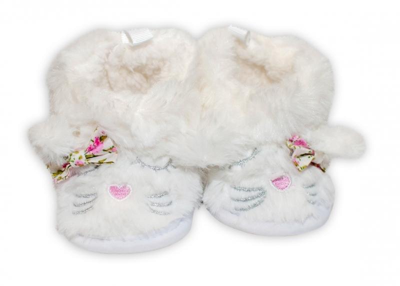 YO ! Zimní chlupáčkové botičky/capáčky Kočička YO! - bílé