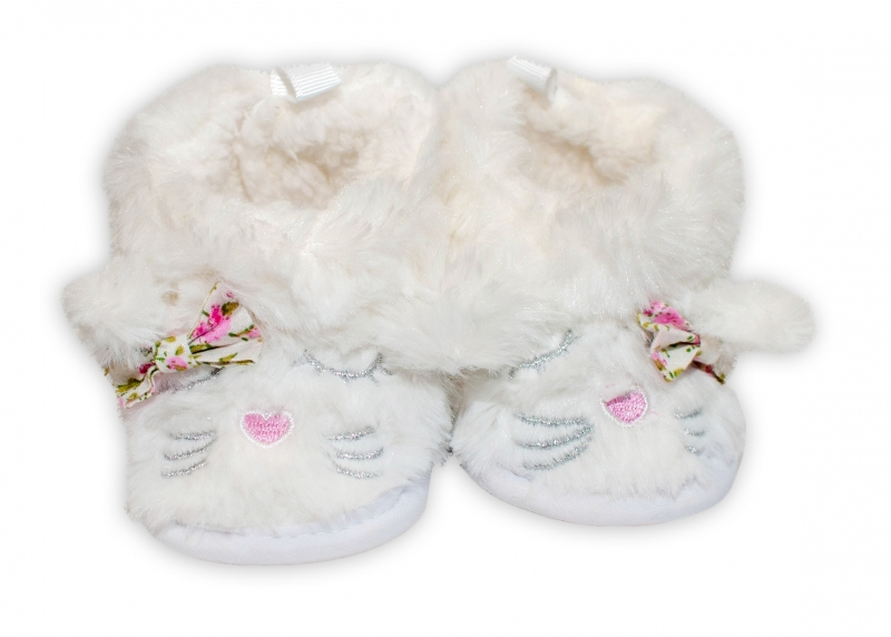 YO ! Zimní chlupáčkové botičky/capáčky Kočička YO! - bílé, 6 - 12m