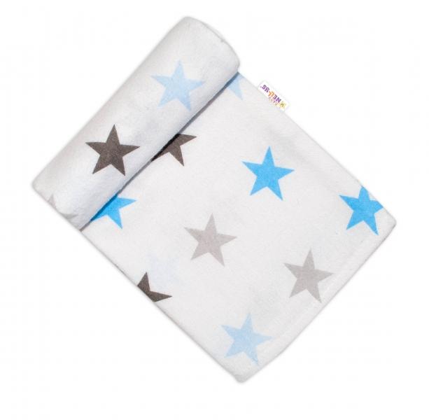 Baby Nellys Flanelová plenka, 70x80 cm - Hvězdičky, modrá/šedá