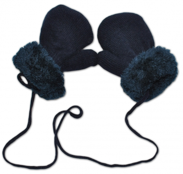 YO !  Zimní kojenecké  rukavičky s kožíškem - se šňůrkou  YO - granát/granátový kožíšek