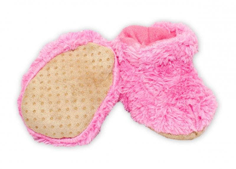 YO ! Zimní chlupáčkové botičky/capáčky YO! - růžová, 0-6m