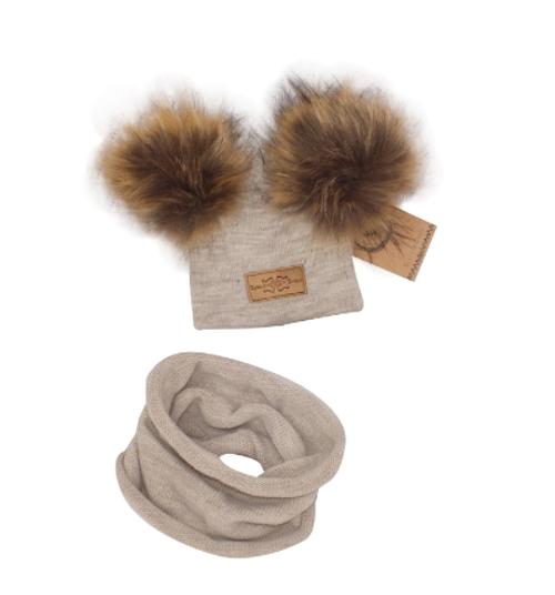 Z&Z Zimní čepice s bambulemi z kožešinky + komínek, béžová, vel. 46/50, 8/18m