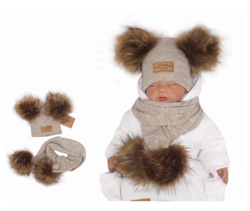 Z&Z Zimní čepice s bambulemi z kožešinky a šálou 2v1, béžová, vel. 42/46