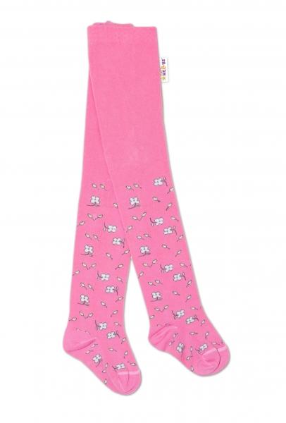 Baby Nellys Dětské punčocháče bavlněné, Kytičky, růžové, 1ks