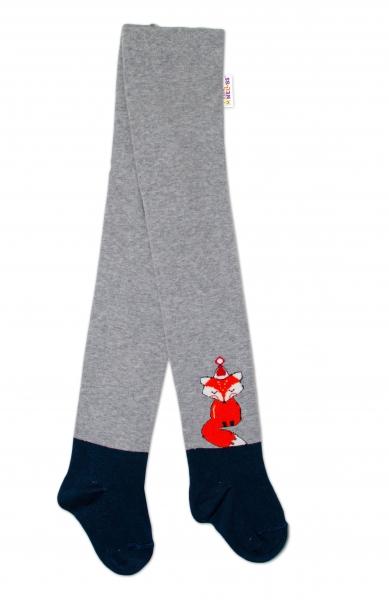 Baby Nellys Dětské punčocháče bavlněné, Fox, šedé-granát, 1ks, vel. 92/98