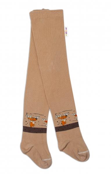 Baby Nellys Dětské punčocháče bavlněné, Los, jeans, 1ks, hnědé, béžové, Velikost: 62/74