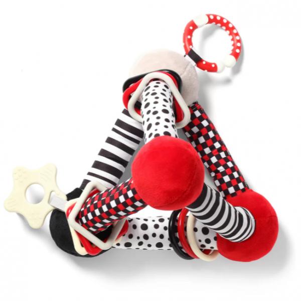 BabyOno Plyšová edukační hračka Tiny Yoga Triangle C - More Collection - černá/červená