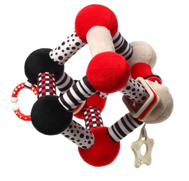 BabyOno Plyšová edukační hračka Tiny Yoga Cube C - More Collection - černá/červená