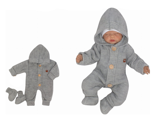 Z&Z Dětský pletený overálek s kapucí + botičky, šedý, vel. 62, Velikost: 62 (2-3m)