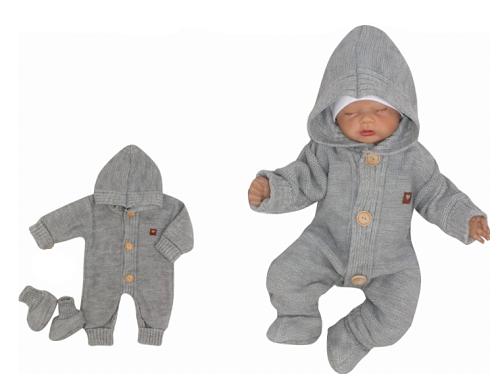 Z&Z Dětský pletený overálek s kapucí + botičky, šedý, vel. 74