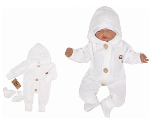 Z&Z Dětský pletený overálek s kapucí + botičky, bílý, Velikost: 56 (1-2m)