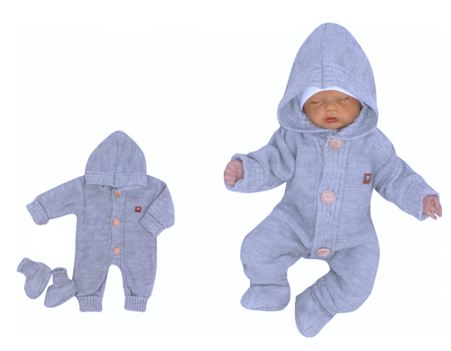 Z&Z Dětský pletený overálek s kapucí + botičky, modrý, vel. 74