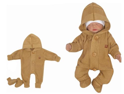 Z&Z Dětský pletený overálek s kapucí + botičky, medový, Velikost: 56 (1-2m)