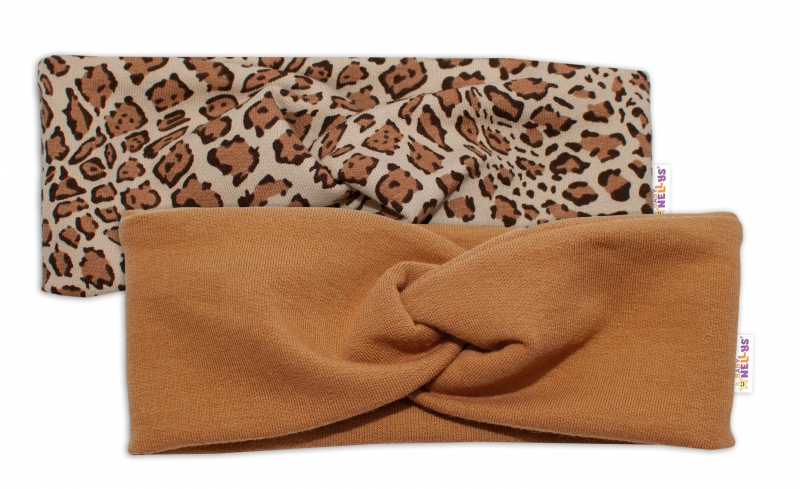 BABY NELLYS Dětské čelenky Gepard, sada 2 kusů - hnědá, gepard