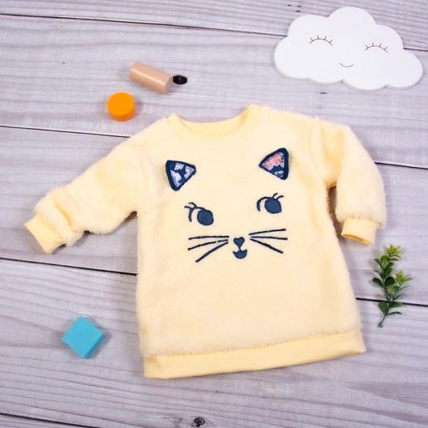 K-Baby Chlupáčková mikina Kočička s oušky - žlutá