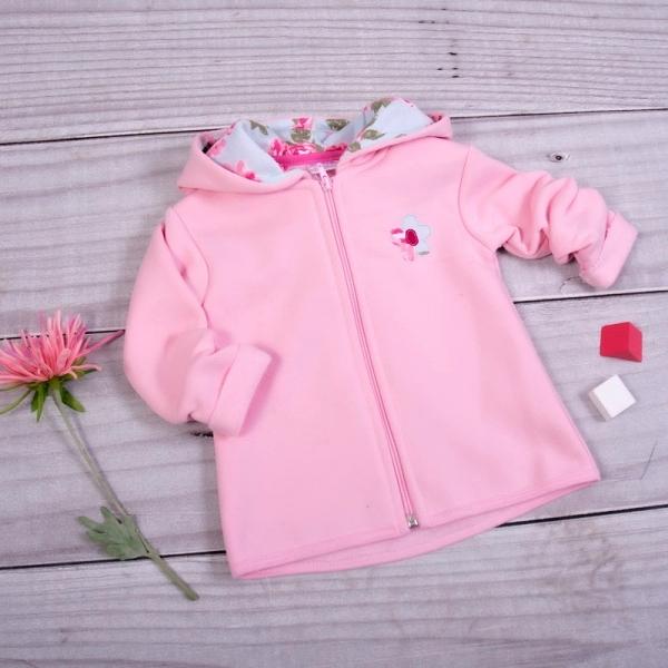 K-Baby Dětská mikina Kytička s kapucí - světle růžová