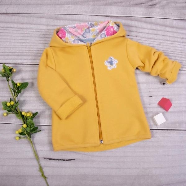 K-Baby Dětská mikina Kytička s kapucí - žlutá