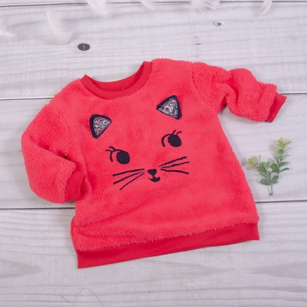 K-Baby Chlupáčková mikina Kočička s oušky - malinová