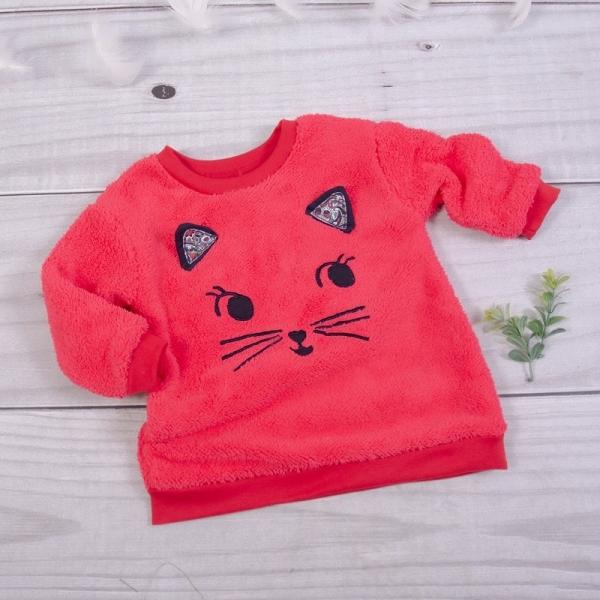 K-Baby Chlupáčková mikina Kočička s oušky - malinová, vel. 86